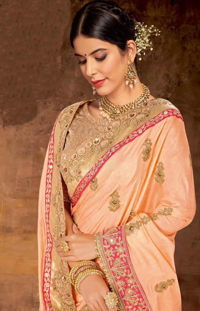 Peach Color Silk Georgette Lovely Designer Sarees With Semi Stitch Blouse NYF-5060
