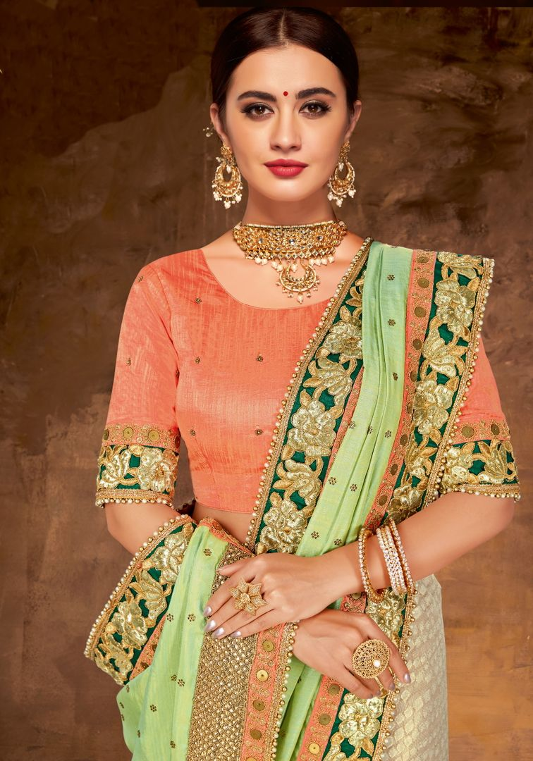 Green & Cream Color Half Dual Tone Silk & Half Fancy Net Lovely Designer Sarees With Semi Stitch Blouse NYF-5061
