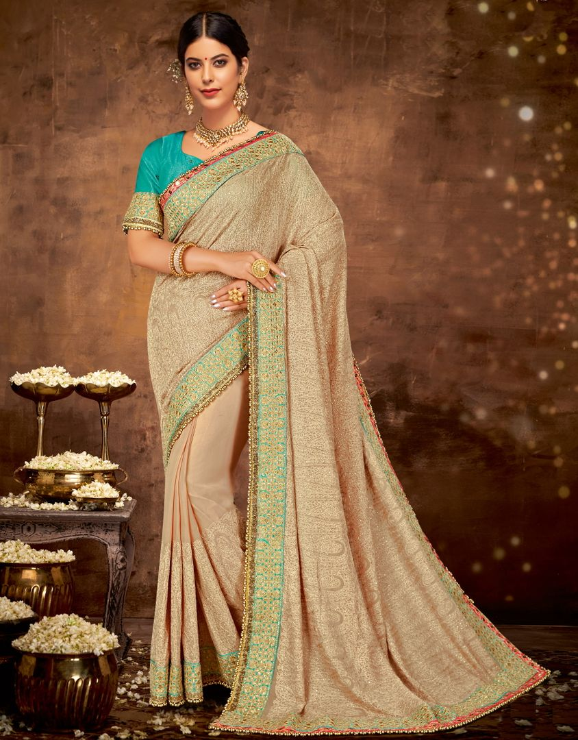 Beige Color Georgette Lovely Designer Sarees With Semi Stitch Blouse NYF-5062
