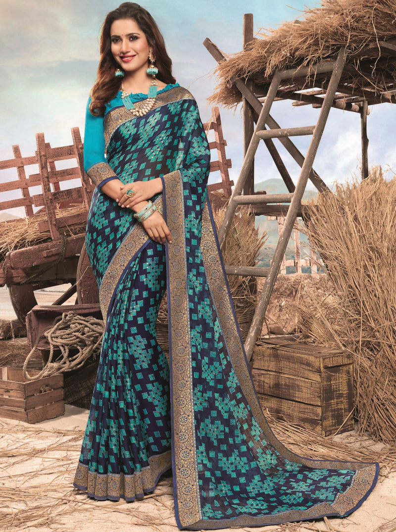 Blue Color Georgette Digital Print Festive Sarees NYF-7847