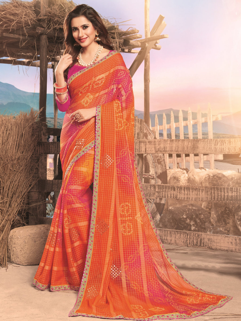 Orange & Pink Color Georgette Digital Print Festive Sarees NYF-7848
