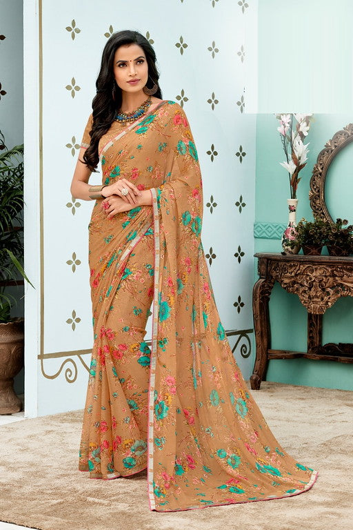 Light Brown Color Chiffon Casual Wear Saree -Ladli Bahu  Collection  YF#11318