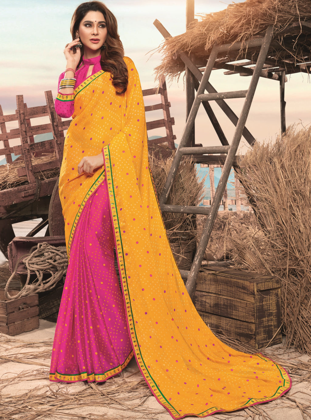 Yellow & Pink Color Georgette Digital Print Festive Sarees NYF-7849