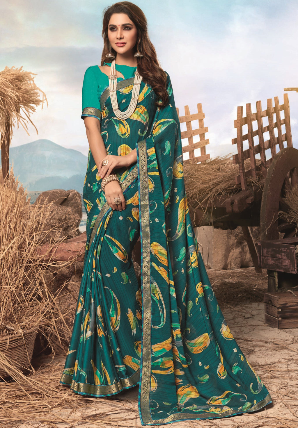 Rama Green Color Georgette Digital Print Festive Sarees NYF-7850