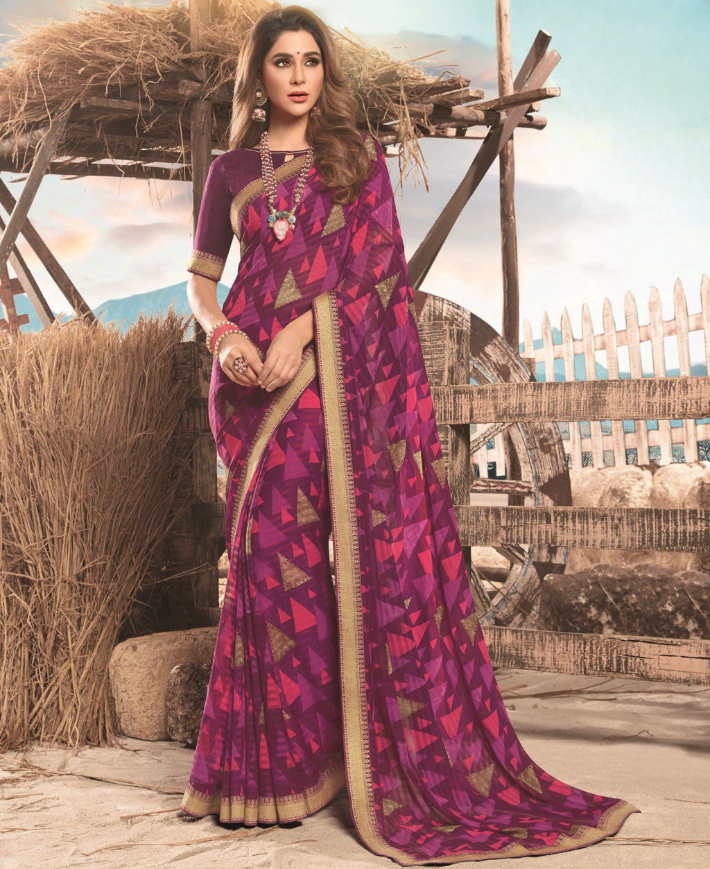 Purple Color Georgette Digital Print Festive Sarees NYF-7851