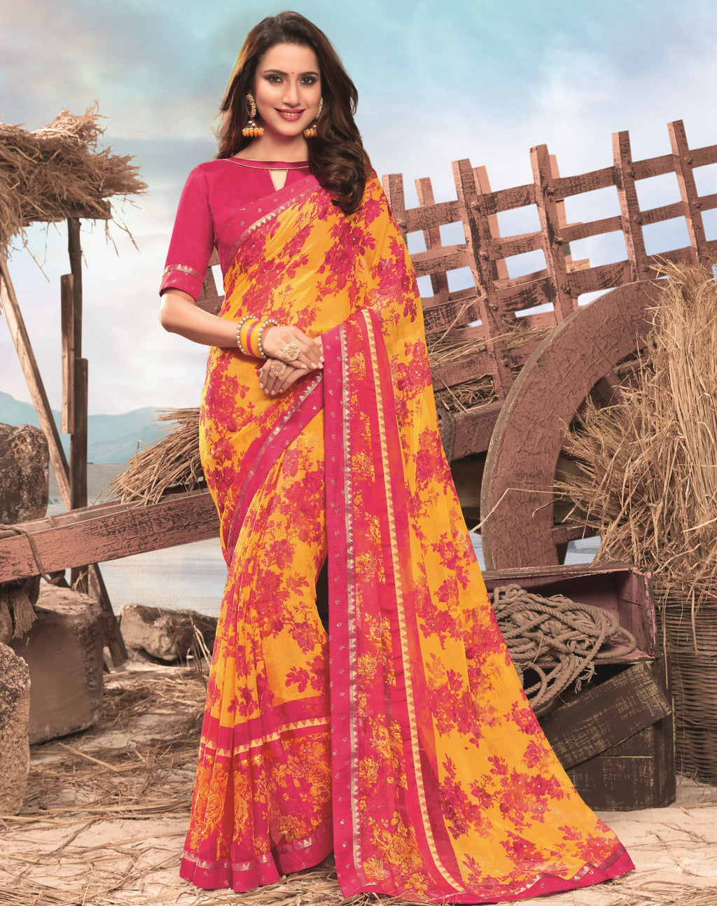 Yellow & Pink Color Georgette Digital Print Festive Sarees NYF-7852