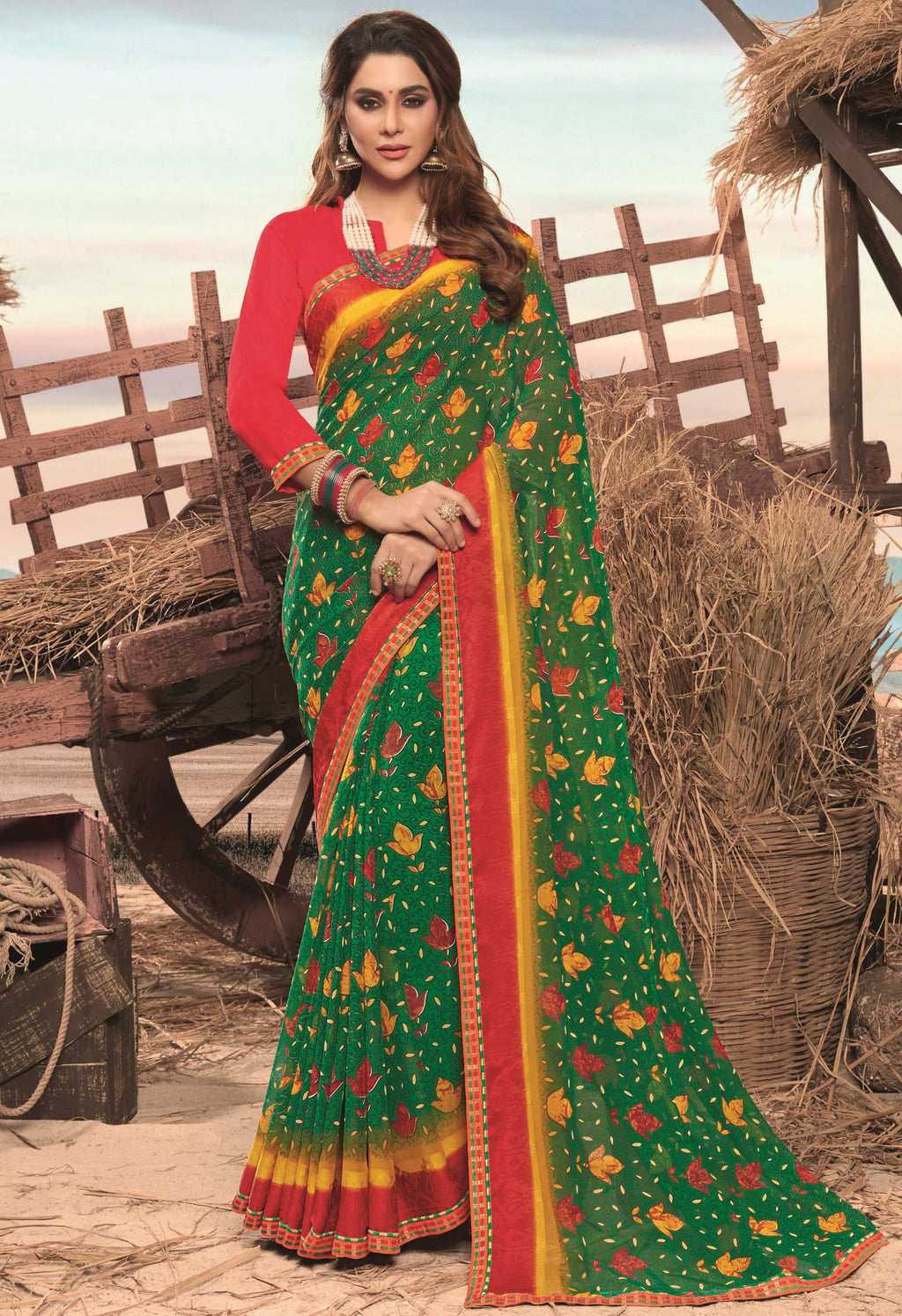 Green Color Georgette Digital Print Festive Sarees NYF-7853