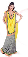 Yellow and Black and white  Colour  Georgette  Material Casual Sarees : Karishma Collection -  YF-12153