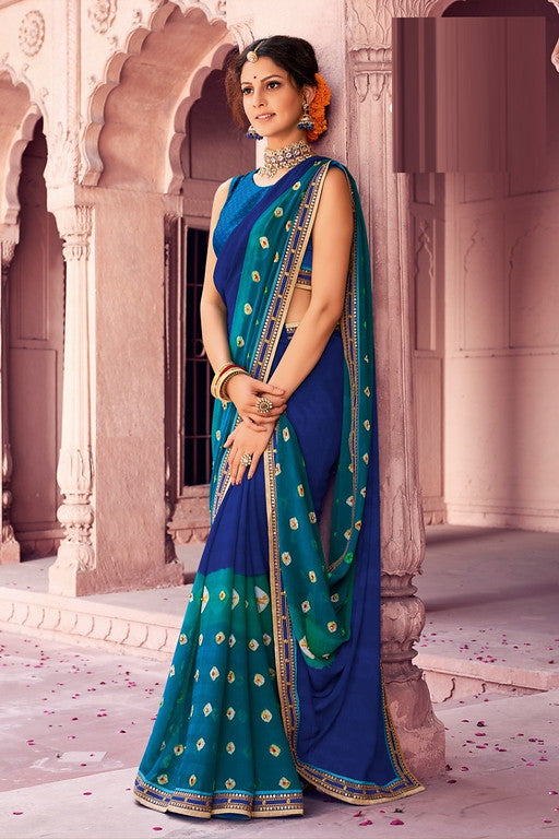 Light and Dark Blue Color Chiffon Casual Wear Saree -Ladli Bahu  Collection  YF#11320