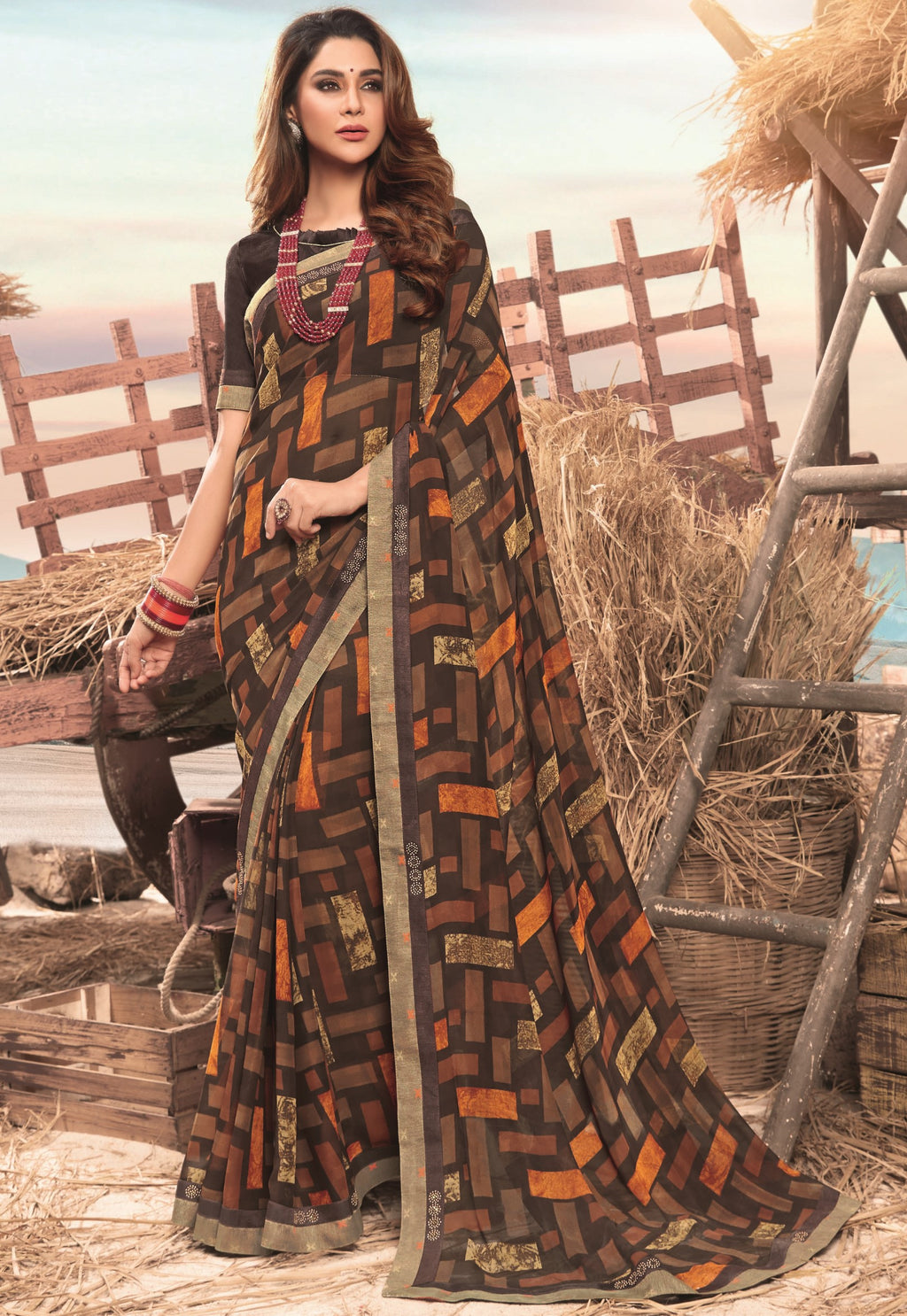 Brown Color Georgette Digital Print Festive Sarees NYF-7854