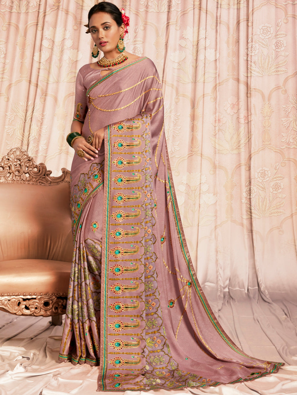 Lavender Color Crepe Silk Youthful Designer Sarees NYF-5271