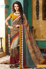 Light Coffee & Yellow Color Crepe Casual Wear Sarees : Avrani Collection  YF-47005