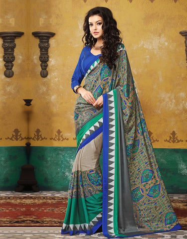 Green & Blue Color Crepe Casual Wear Sarees : Avrani Collection  YF-47006