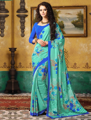 Sea Green & Blue Color Crepe Casual Wear Sarees : Avrani Collection  YF-47007