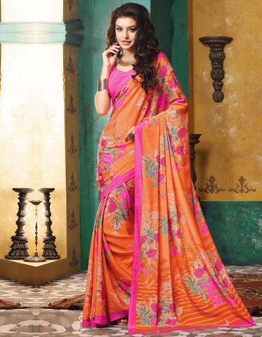Orange & Pink Color Crepe Casual Wear Sarees : Avrani Collection  YF-47008