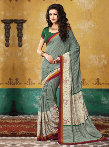 Green Color Crepe Casual Wear Sarees : Avrani Collection  YF-47010