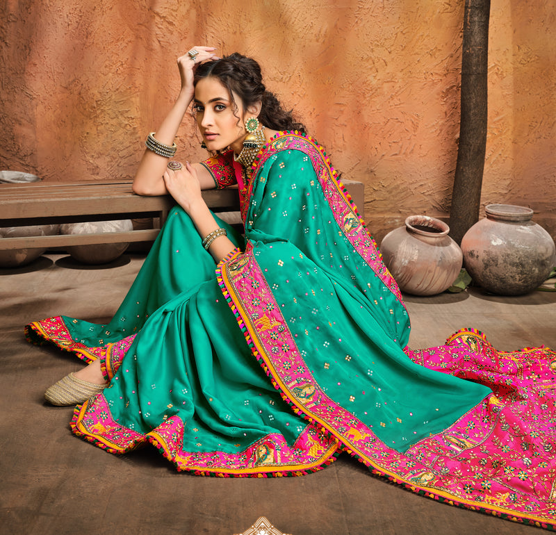 Firozi and Pink Color Turban Silk Saree with resham, Mirror and Diamond Heavy Work  Bridal Wear Saree -Pithi Collection YF#11369