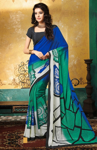 Green, Blue & Black Color Crepe Casual Wear Sarees : Avrani Collection  YF-47013