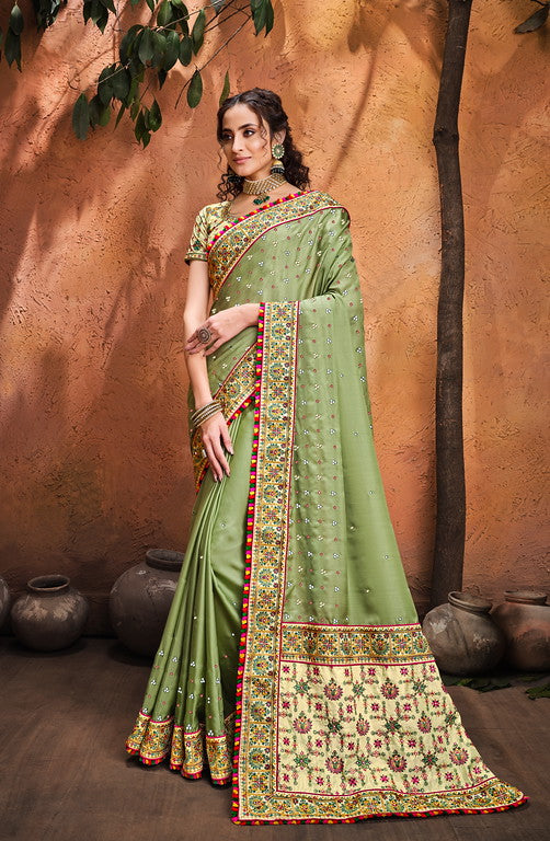 Pista Color Pure Satin Saree with Mirror, Resham and Diamond Heavy Work  Bridal Wear Saree -Pithi Collection YF#11371