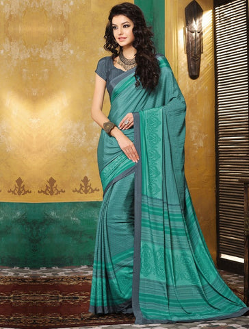 Rama Green Color Crepe Casual Wear Sarees : Avrani Collection  YF-47016