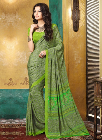 Green Color Crepe Casual Wear Sarees : Avrani Collection  YF-47021