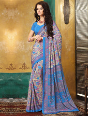 Light Coffee & Blue Color Crepe Casual Wear Sarees : Avrani Collection  YF-47023