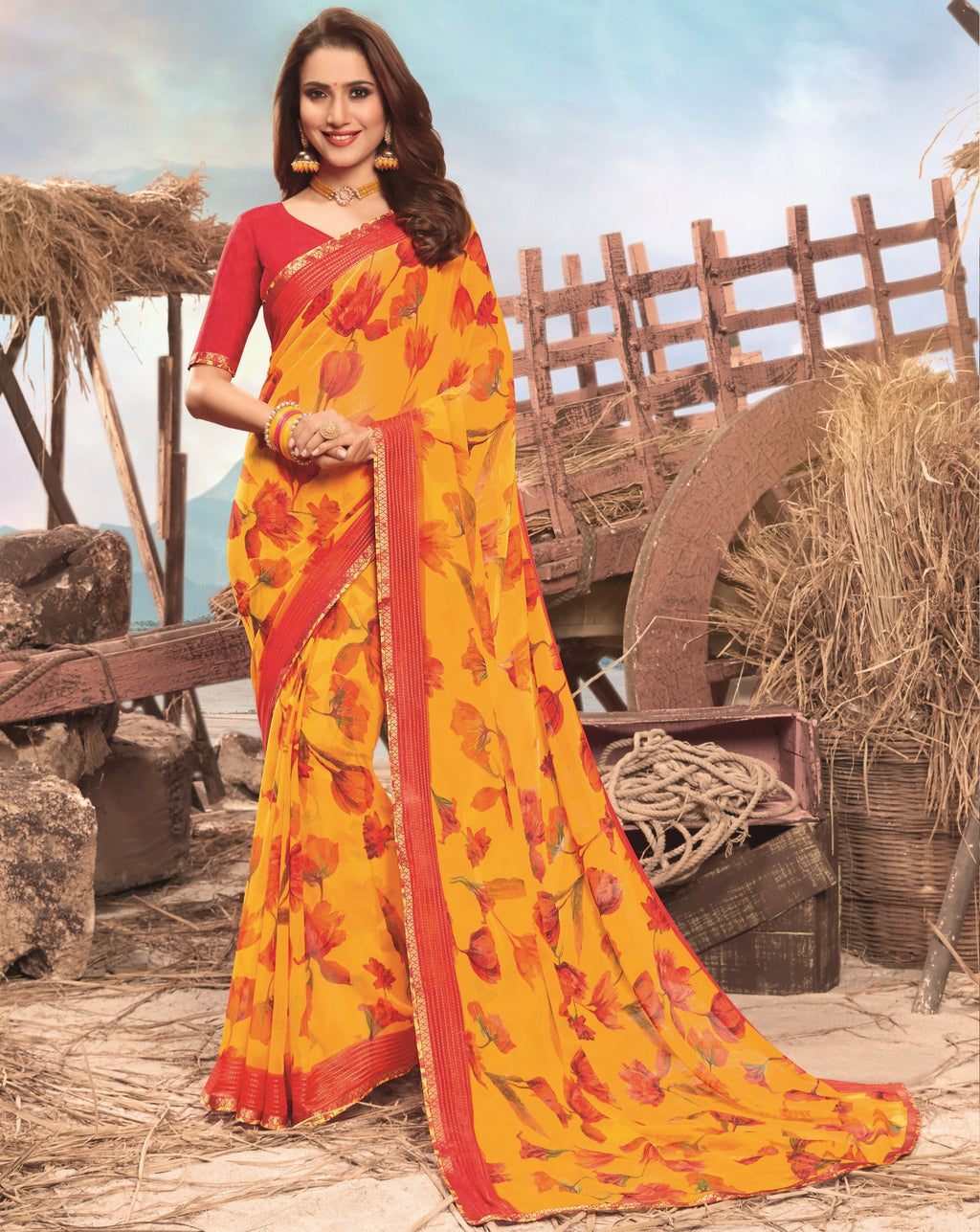 Yellow Color Georgette Digital Print Festive Sarees NYF-7855