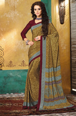 Shades Of Brown Color Crepe Casual Wear Sarees : Avrani Collection  YF-47024