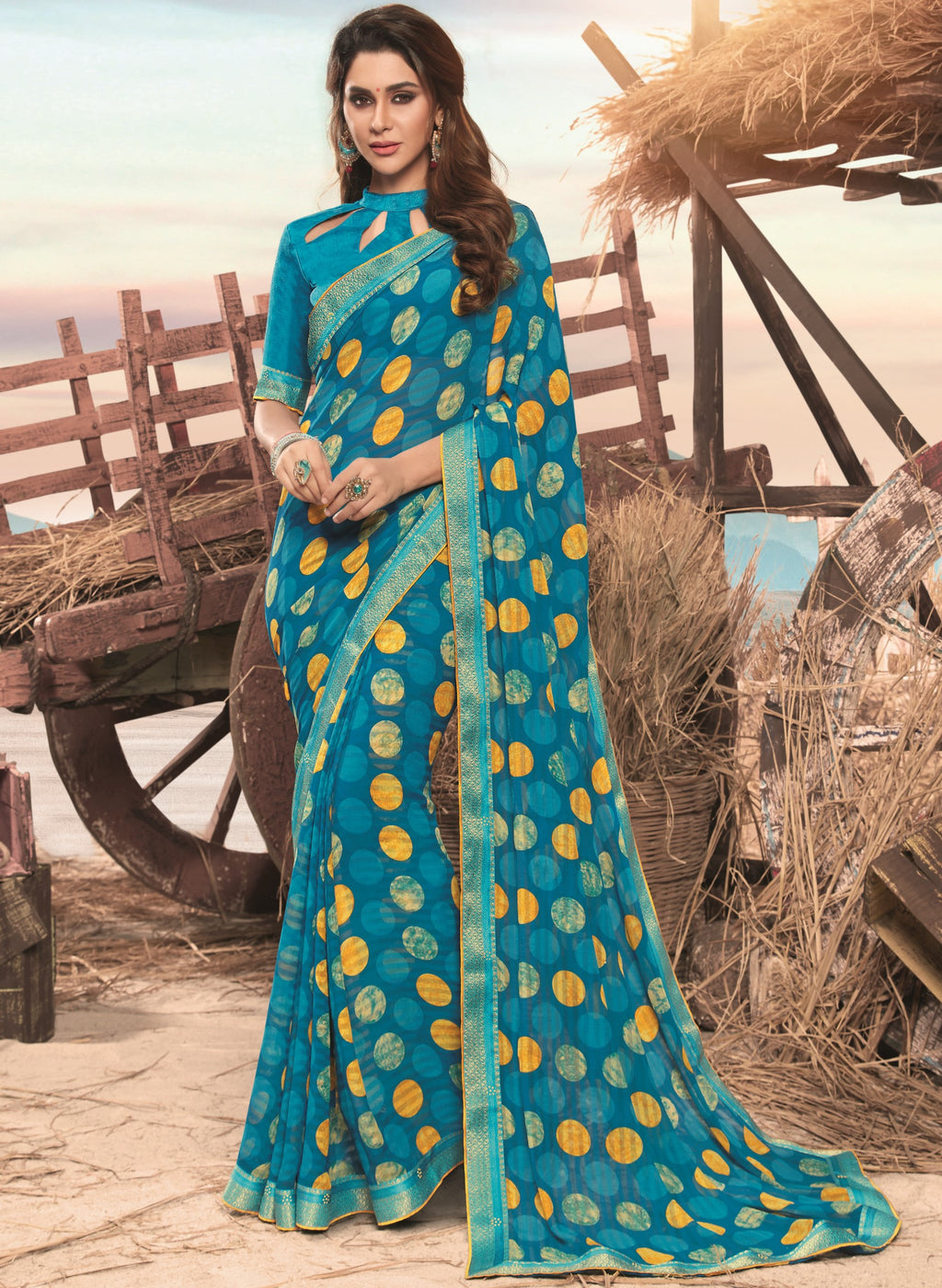 Sky Blue Color Georgette Digital Print Festive Sarees NYF-7856