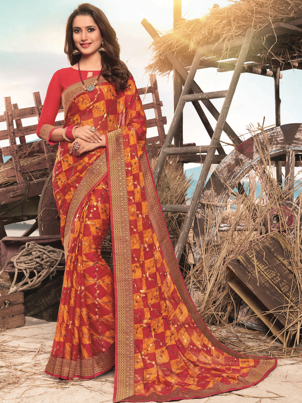 Red Color Georgette Digital Print Festive Sarees NYF-7857