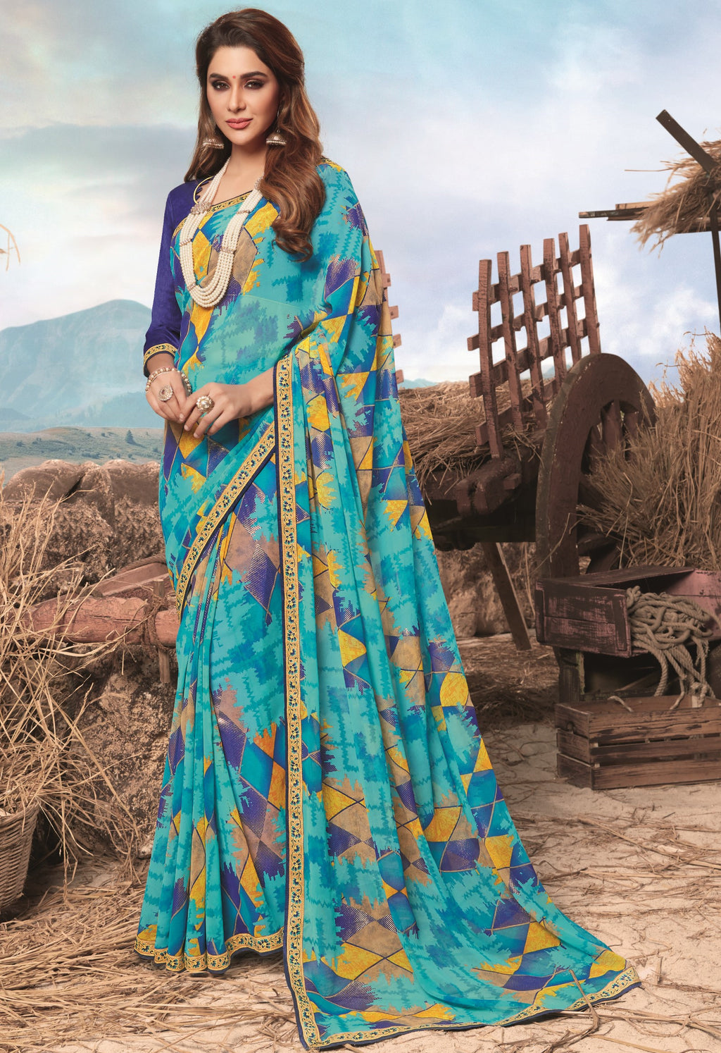Sky Blue Color Georgette Digital Print Festive Sarees NYF-7858