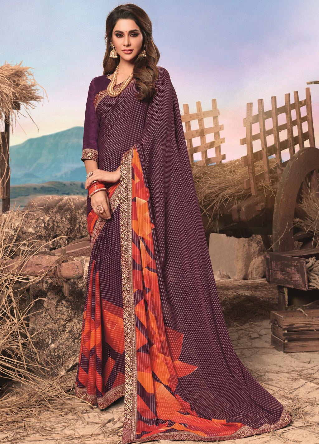 Purple Color Georgette Digital Print Festive Sarees NYF-7859