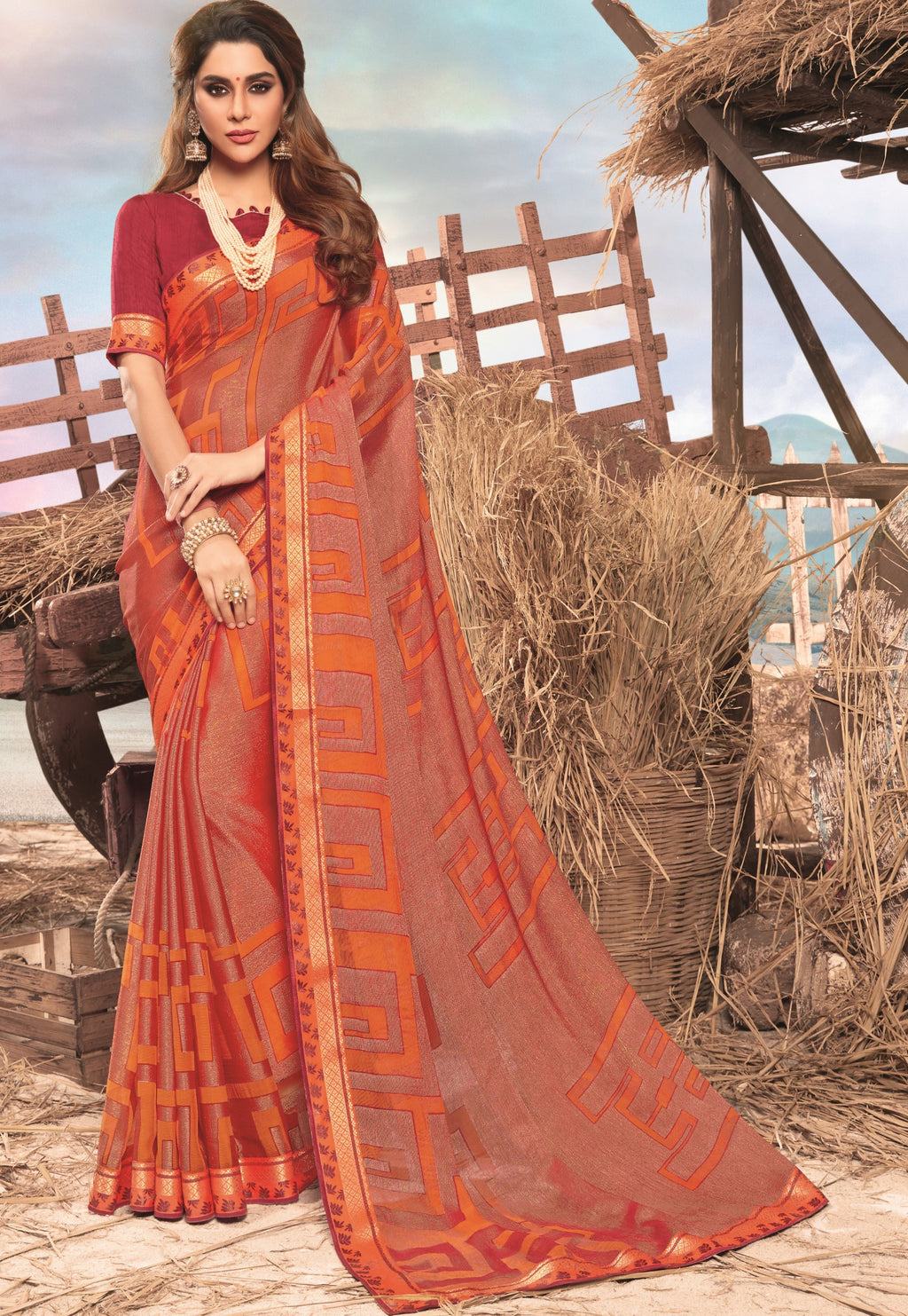 Orange Color Georgette Digital Print Festive Sarees NYF-7860