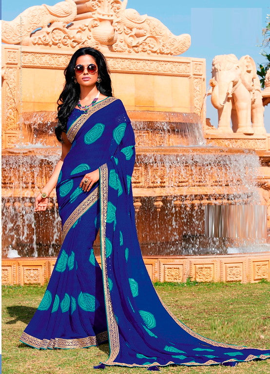 Royal Blue Color Chiffon Casual Wear Saree -Ladli Bahu  Collection  YF#11321