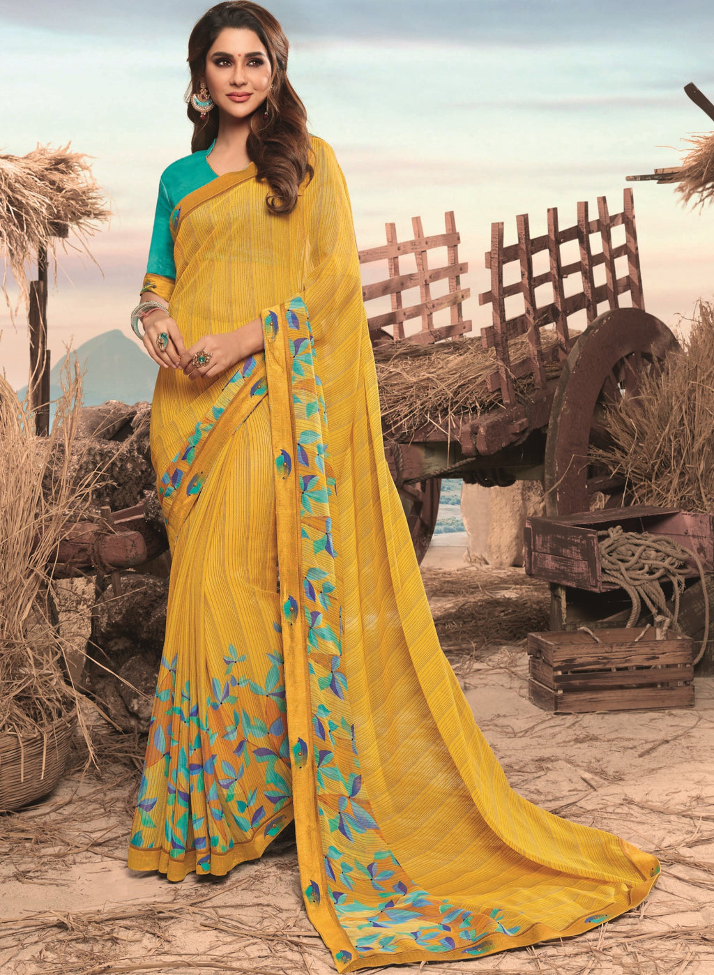 Yellow Color Georgette Digital Print Festive Sarees NYF-7861