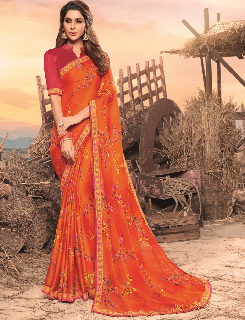 Orange Color Georgette Digital Print Festive Sarees NYF-7862