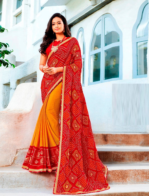 Red and Yellow Color Silk Casual Wear Saree -Ladli Bahu  Collection  YF#11323