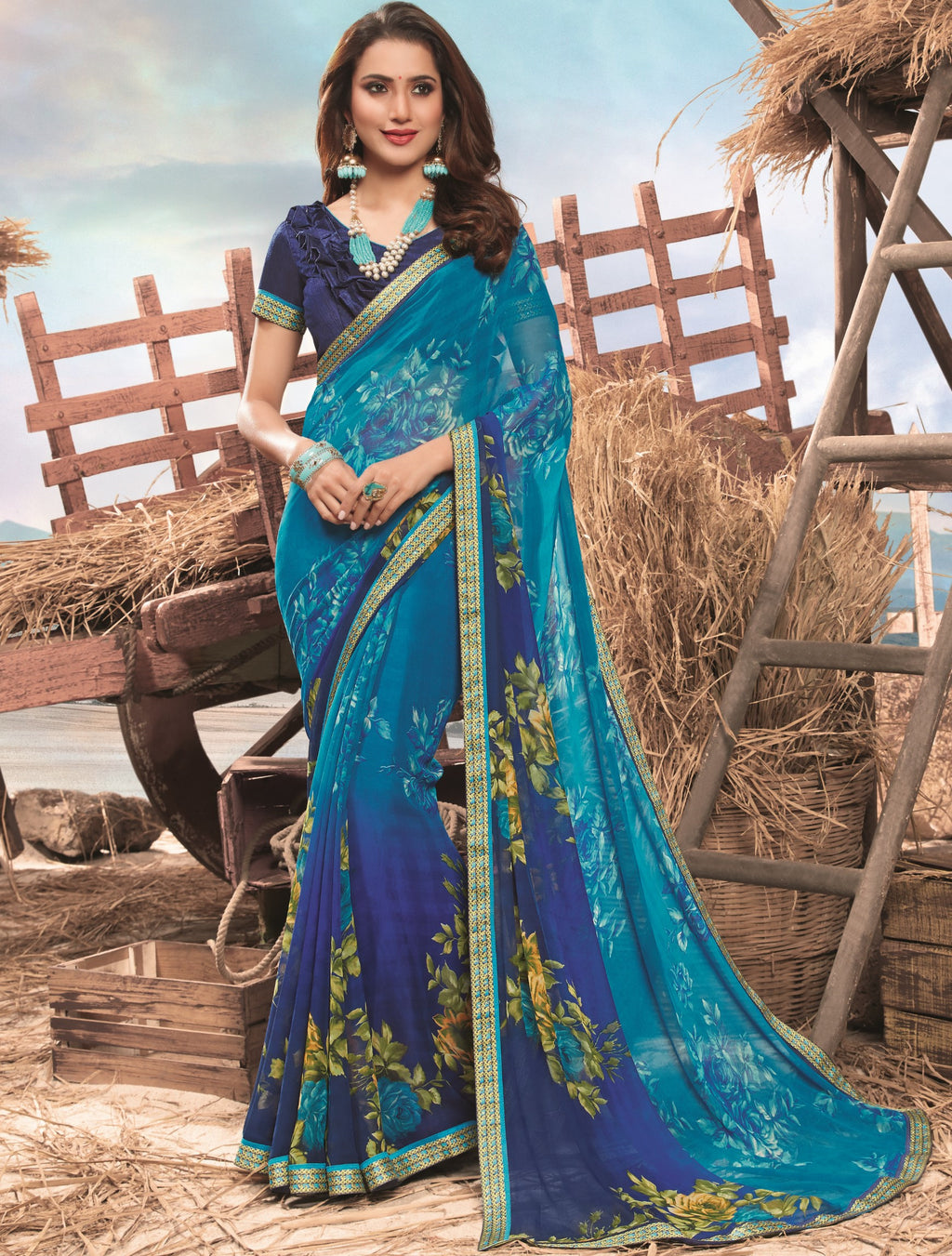 Blue  Color Georgette Digital Print Festive Sarees NYF-7863