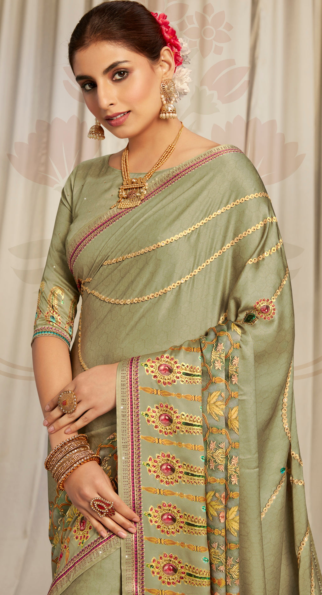 Green Color Crepe Silk Youthful Designer Sarees NYF-5272