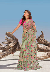 Orange Color Georgette Designer Cocktail Party Sarees : Naumika Collection  YF-50181