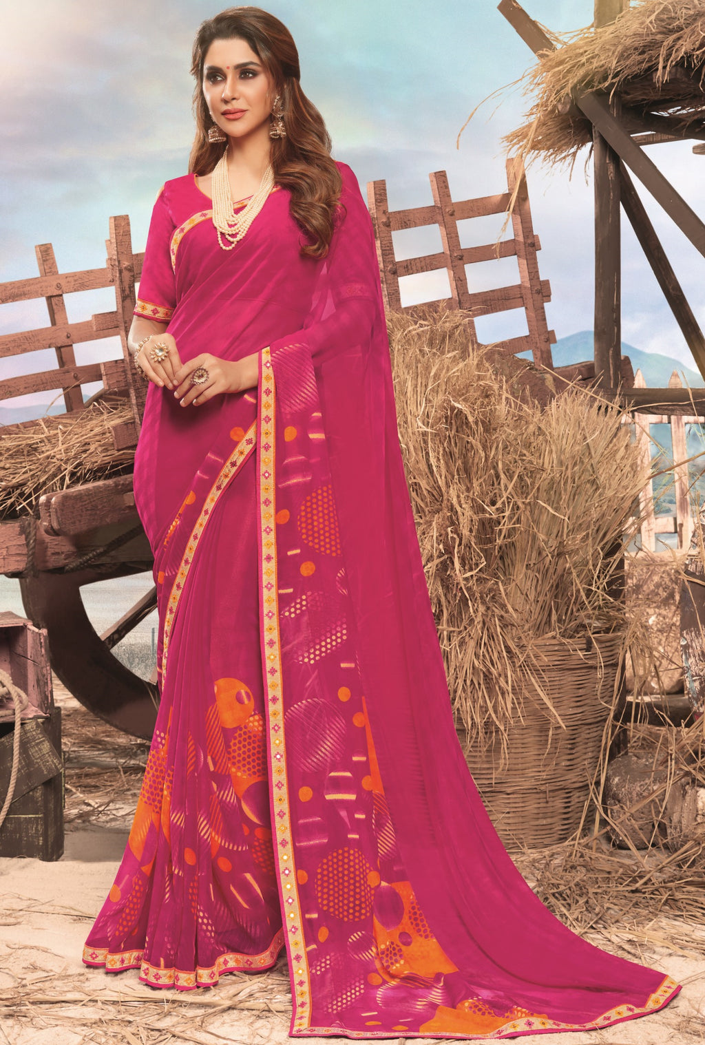 Pink Color Georgette Digital Print Festive Sarees NYF-7865