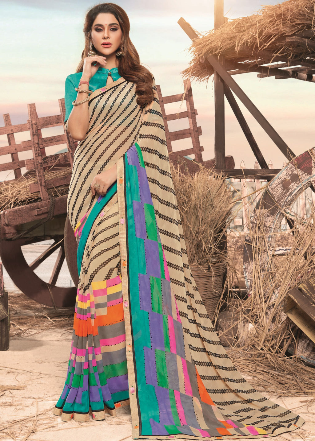Multi Color Georgette Digital Print Festive Sarees NYF-7866