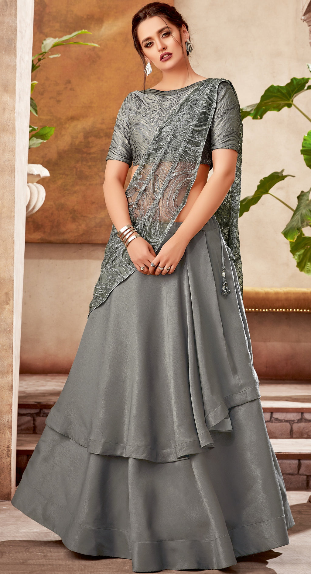 Smoke Grey Color Fancy Designer Lehenga -Khwaish Collection YF#11848