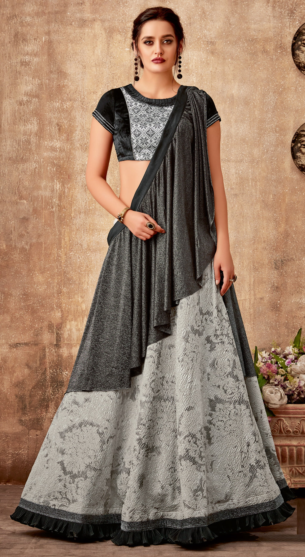 Black & Grey Color Lycra Designer Lehenga Sarees NYF-6414