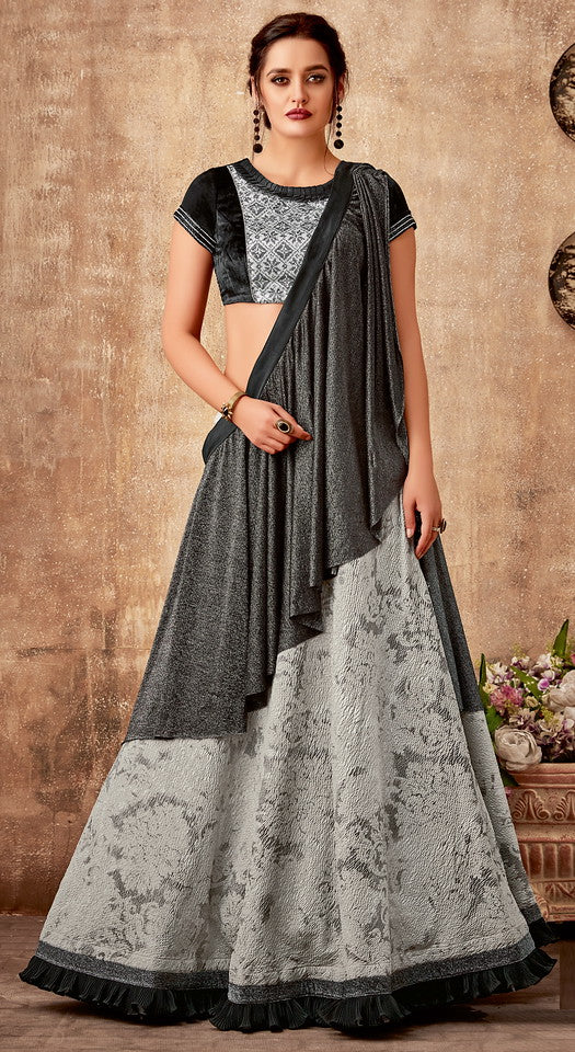 Light Grey and Black Color Fancy Designer Lehenga -Khwaish Collection YF#11851