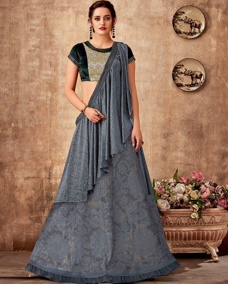 Bluish Grey Color Fancy Designer Lehenga -Khwaish Collection YF#11852