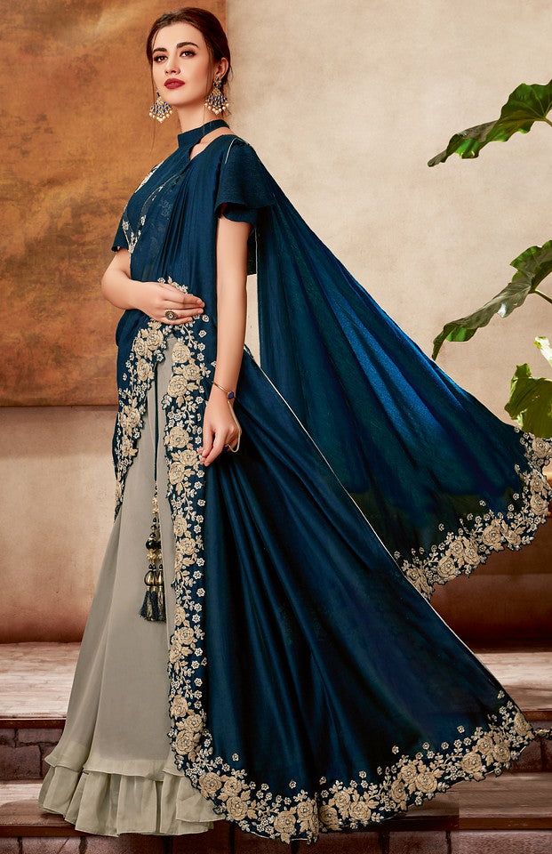 Grey and Teal Blue Color Fancy Designer Lehenga -Khwaish Collection YF#11854