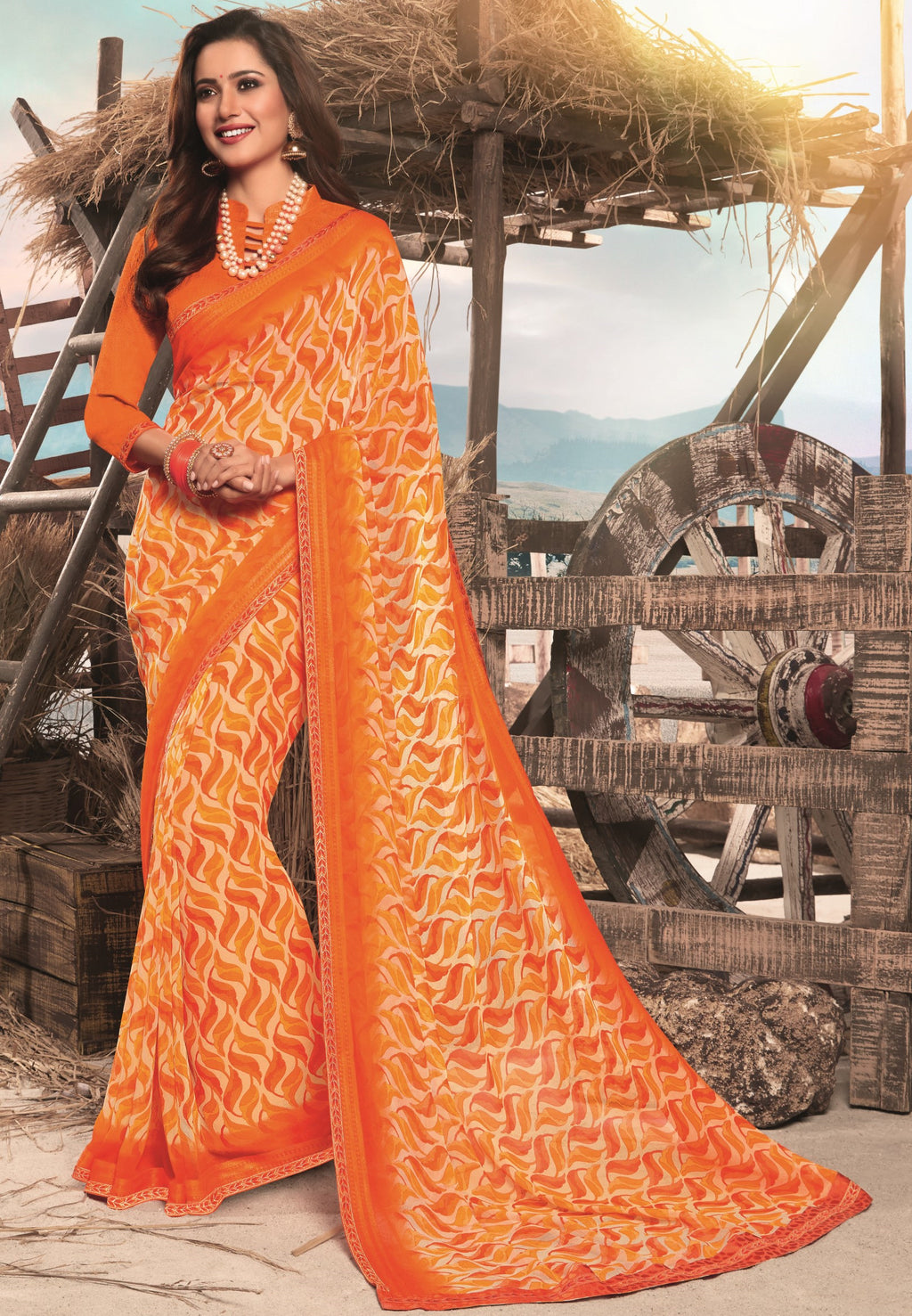 Orange Color Georgette Digital Print Festive Sarees NYF-7867