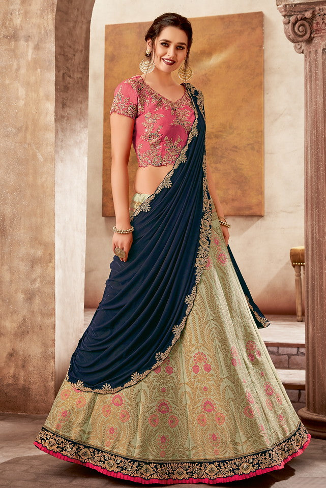 Cream, Pink and Teal Blue Color Fancy Designer Lehenga -Khwaish Collection YF#11856
