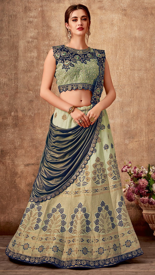 Pista Green and Metallic Blue Color Fancy Designer Lehenga -Khwaish Collection YF#11857